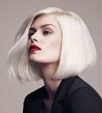 A medium blonde straight coloured white bob Womens haircut hairstyle by Headmasters