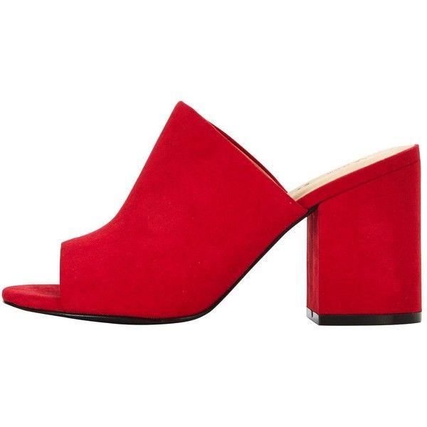 V by Very Cora Block Heeled Mule Red ❤ liked on Polyvore featuring shoes, block heel mules, block heel shoes, red shoes, red mules and red mule shoes