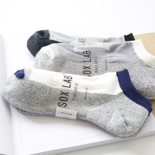 2017 free shipping men socks 3 pairs 100% cotton short invisible socks new arrival spring high quality men's socks
