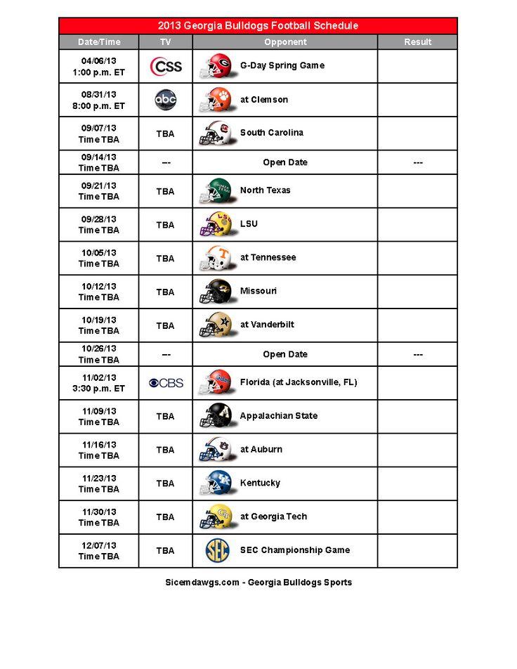 20132014 uga football schedule my team pinterest