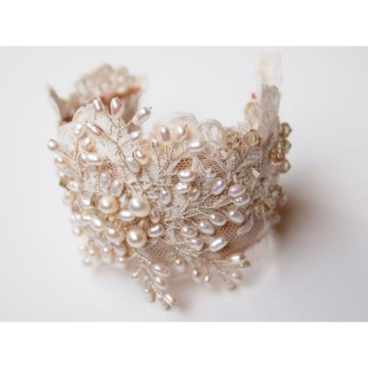 Lace and Pearls vintage cuff bracelet                                                                                                                                                                                 More