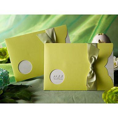 Amazing Green Pocket Nature Ribbon Horizontal Wedding Invitations, 100 pcs/lot