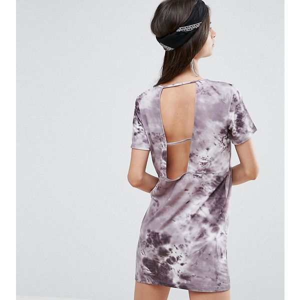ASOS PETITE T-Shirt Dress In Tie-Dye With Ladder Back (920 DOP) ❤ liked on Polyvore featuring dresses, grey, petite, gray t-shirt dresses, short gray dress, grey t-shirt dresses, short dresses and tie dye t shirt dress