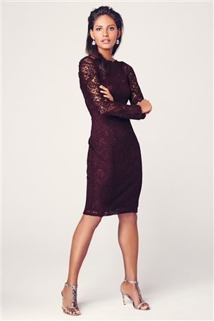 Lace Long Sleeve Bodycon Dress From The Next UK Online Shop