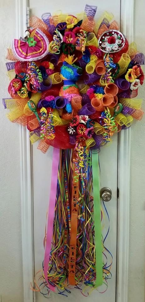 Viva Fiesta/Cinco de Mayo Wreath  (Special Order Item) by SouthTXCreations on Etsy