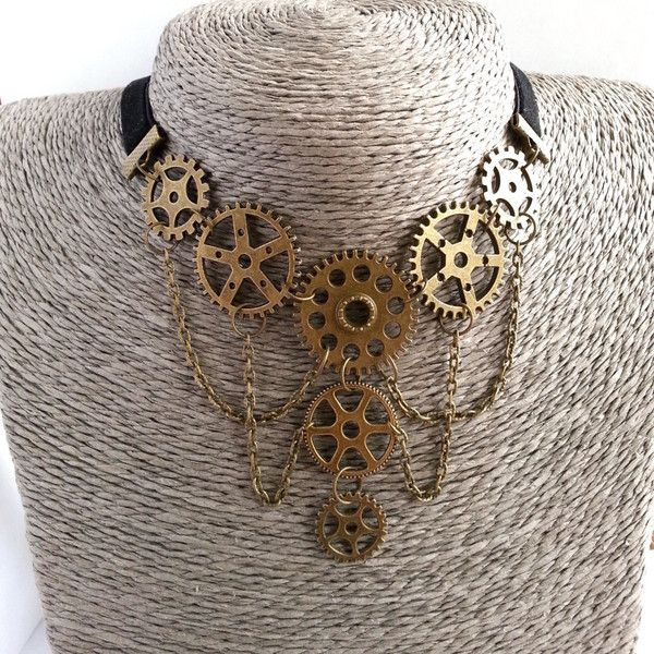 Steampunk Necklace. Steampunk Jewelry. Gears. Bronze. Victorian style. ($12) ❤ liked on Polyvore featuring jewelry, necklaces, victorian jewelry, steampunk jewelry, steampunk jewellery, steam punk necklace and steam punk jewel