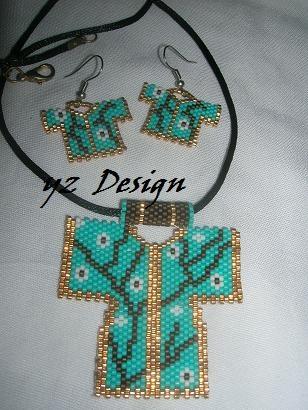 kimono pendant & earrings - YILDIZ ve YAŞAM