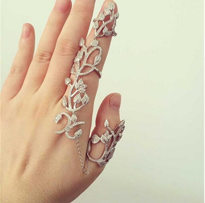 Rihanna mujer romántica hojas de dedos dobles anillos para mujeres Piercing hueco anillo tallado novia anillos de bodas envío gratis