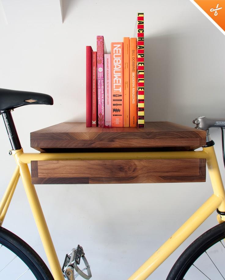 Off the wall indoor bike racks innovation pinterest Bicycle bookshelf