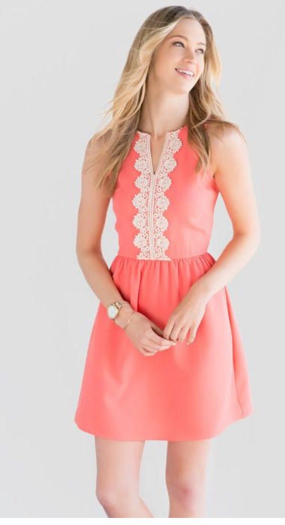 Salmon color fit and flare dresses