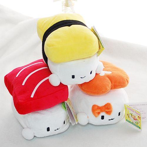 "CUTE Japan Sushi Plush Pillow Cushion Doll 6"" x3 SET"