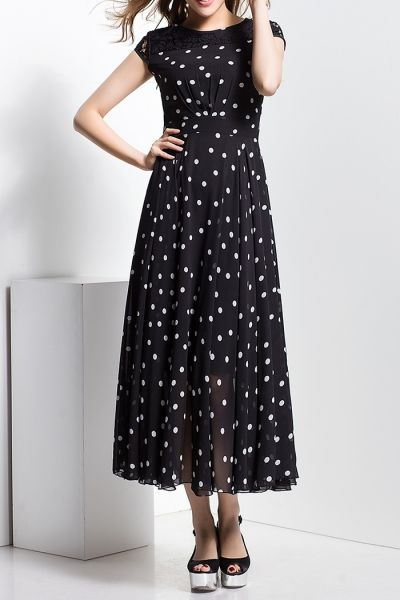 Borme Black Polka Dot Lace Spliced Maxi Dress | Maxi Dresses at DEZZAL Click on picture to purchase!
