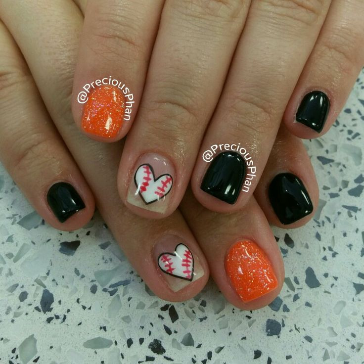 Basketball, San Francisco Giants. Black and Orange nails. Baseball heart nails