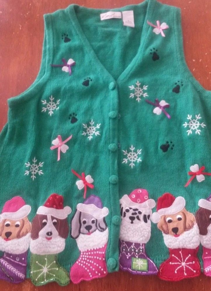 Ugly Christmas Sweater Vest Dogs In Stockings Women's Small #KimRogers #VestSleeveless