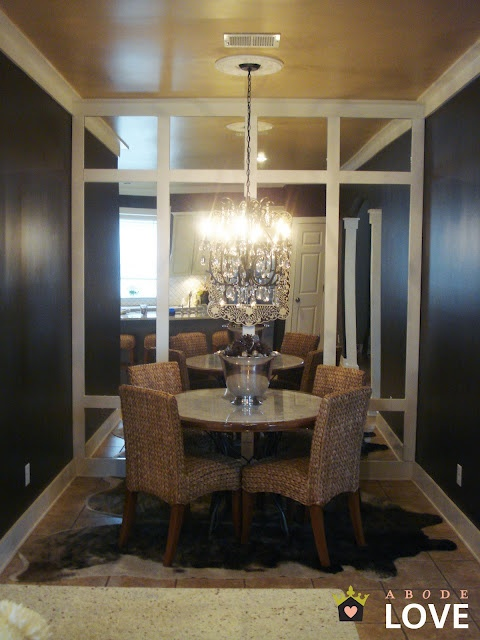 καθρεπτεςDining Rooms, Dining Area, Mirrors Wall, Dining Wall, Metals Painting, Kitchens Nooks, Ceilings, Great Ideas, Formal Dining Room