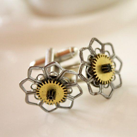 steampunk metal flowers and gears  vintage watch by nanofactory, $15.00