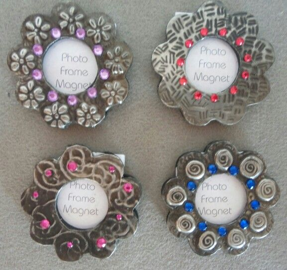 Small fridge magnet frames with pewter
