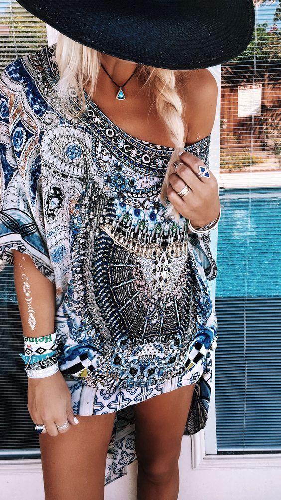 blue & white scarf print dress. summer boho style.