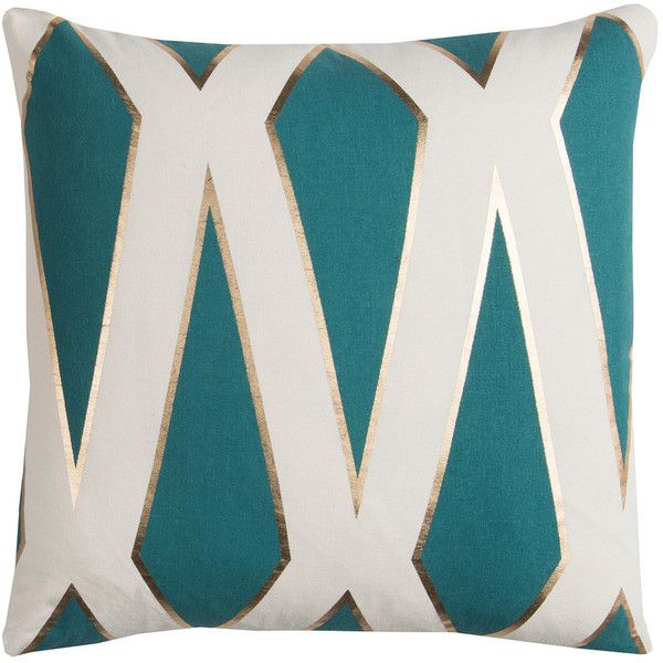 rizzy home rachel kate geometric ii foil printed throw pillow 45 liked on polyvore featuring home home decor throw pillows dark green colored
