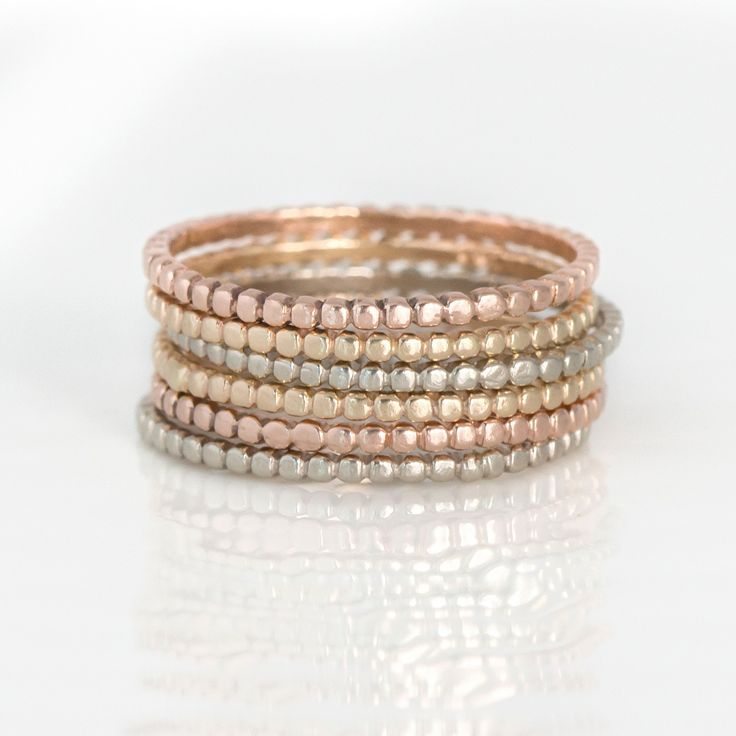 Thin Bead Stacking Ring in 14k Gold