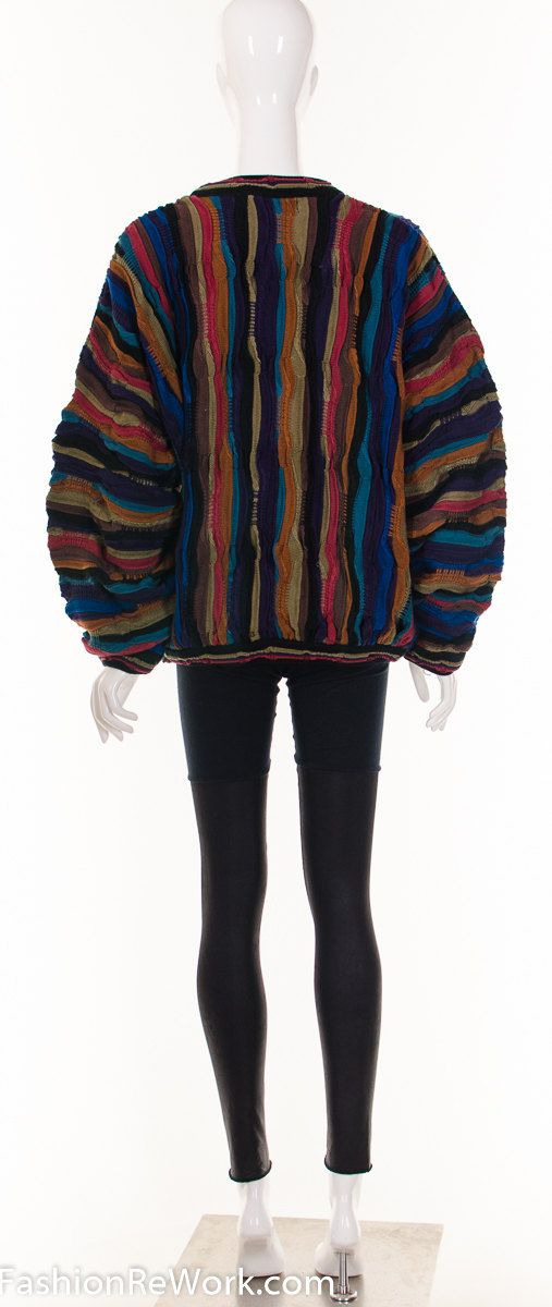 ♡Vtg 80s 90s Dark RAINBOW Coogi Sweater Cosby Sweater Notorious BIG Sweater Avant Garde Futuristc Jumper Medium Large♡  Fantastic colorful, darker rainbow sweater in a Coogi style or Cosby sweater look.  Vintage is unique, and a one time chance to add something exceptional to your wardrobe. Dont let it get away!  ▲The Details▲ Unisex-Designed for women and men Brand/Designer/Label: Tundra Tag Size: N/A Fits like: Large-Extra large Material: Mercerized Cotton Condition: Great Vi...