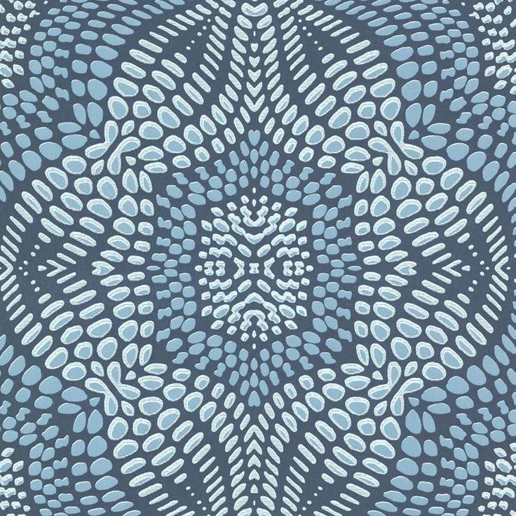 Brewster Wallpaper 330216 Iberian Aqua Fractal Geometric