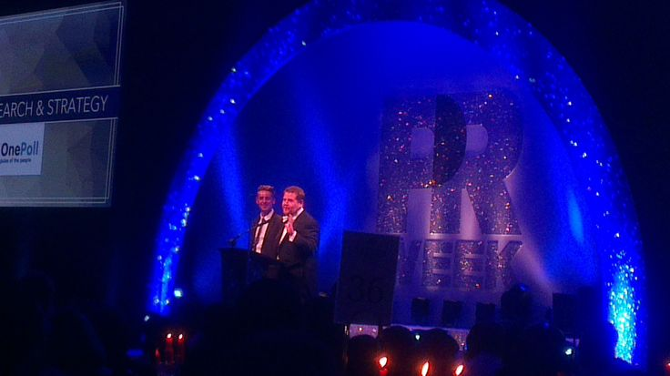 James Corden and our Dan presenting the award for Insight, Research and  strategy. Which went to Unity.  #PRWeekAwards 2014
