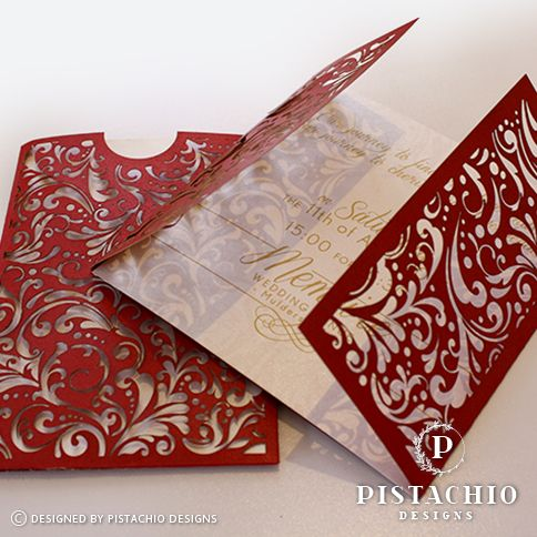 Red laser love wedding invitation by www.pistachiodesigns.co.za