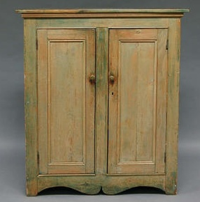 Green-painted Pine Cupboard with Two Paneled Doors, possibly Vermont, the interior with two fixed shelves, ht. 47, wd. 41 3/4, dp. 17 in.