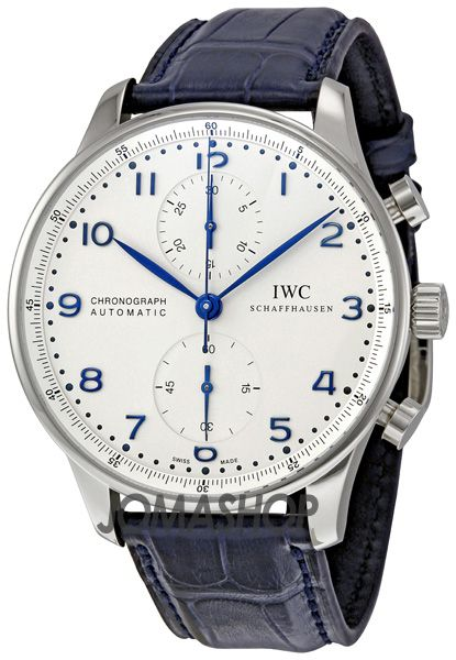 IWC Portuguese ChronoAutomatic Steel Blue Mens Watch IW371417.  www.ChronoSales.com for all your luxury watch needs, sign up for our free newsletter, the new way to buy and sell luxury watches on the internet.  #ChronoSales