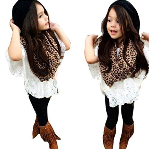 Elevin(TM)Toddler Girls Vest  Lace Bat Shirt Legging Pants Leopard Scarf Clothes Outfits (5T)