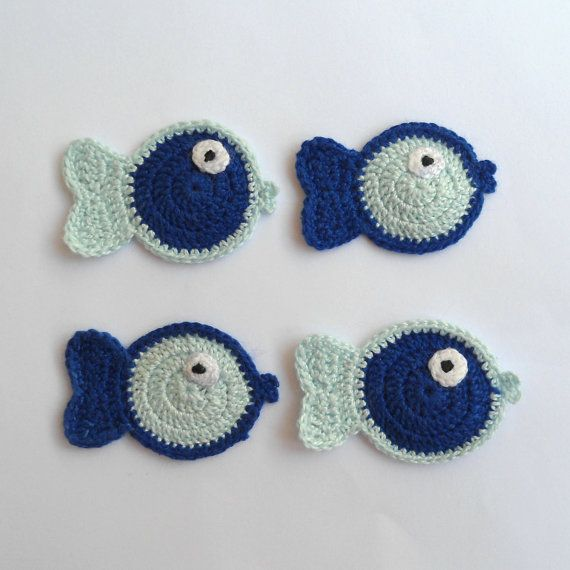 Crochet Applique Blue Fish 4pcs Supplies for baby by Clewinhand, $6.00
