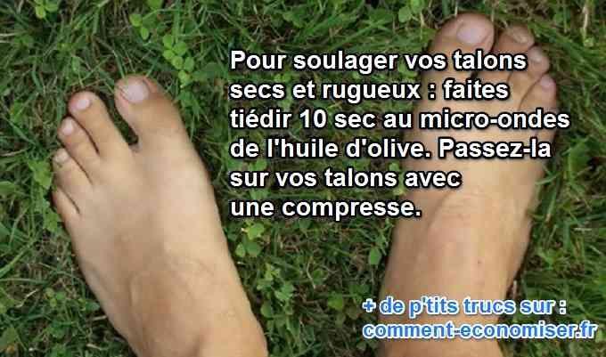 Le Remède Efficace Pour les Talons Secs et Rugueux.Les talons de nos pieds secs, rugueux, c'est affreux. Et ça fait mal. Que ce soit à cause des chaussures, de la plage, les pieds s'abîment. Il se peut même qu'ils aient des crevasses. Heureusement, il existe un remède pour soigner les talons secs et rugueux.  Découvrez l'astuce ici : http://www.comment-economiser.fr/talons-secs-huile-olive.html?utm_content=buffer6f3a5&utm_medium=social&utm_source=pinterest.com&utm_campaign=buffer
