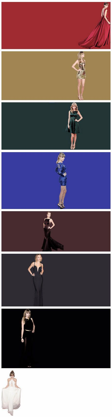 Different Colour Dresses Of Taylor's