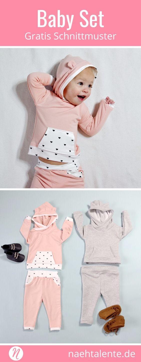 Freebook Baby-Hoodie und Sweatpants. Näh für deine Kleinen dieses geniale Set aus weichem Sweatshirstoff. Kuschelig weich und warm gibt es jeder Bewegung des Babys nach. Gratis Schnittmuster zum Drucken zuhause. Gr. 9 - 12 Monate.