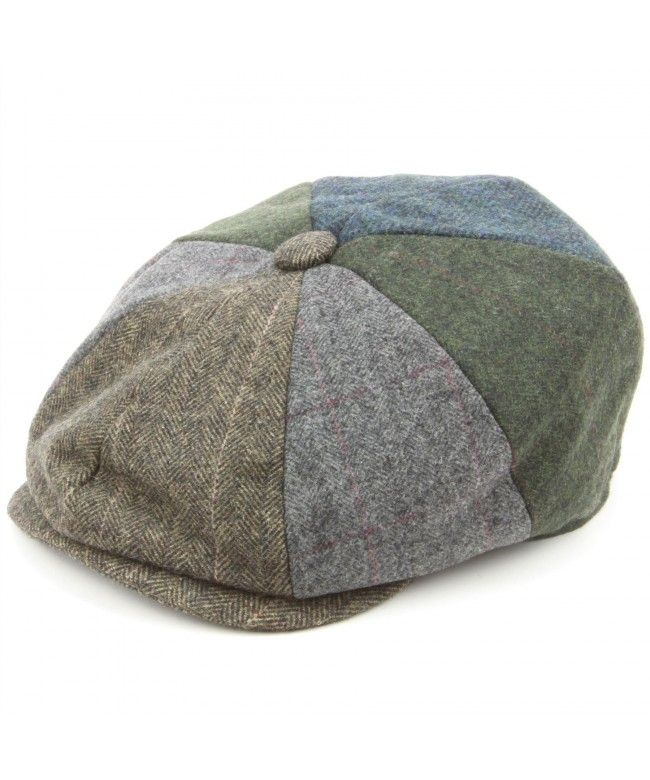 Hawkins Patchwork Tweed Newsboy Gatsby 8 panel flat cap - Blue