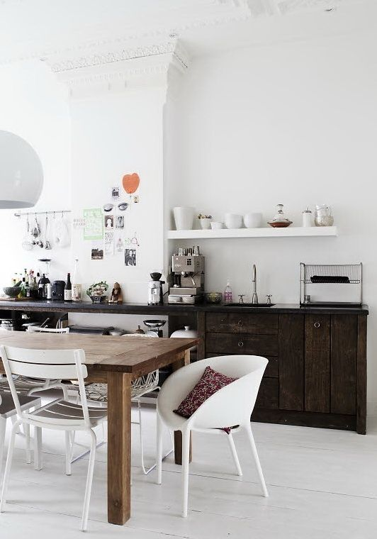 Like the starkness. Contrasting white colours with the strong dark kitchen interior