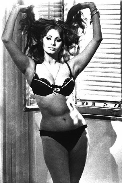 "Sophia Loren Bikini Science - ""A very small bikini silhouette for 1963"" - Proof that you don't have to have a flat stomach and thighs that don't touch to be sexy."