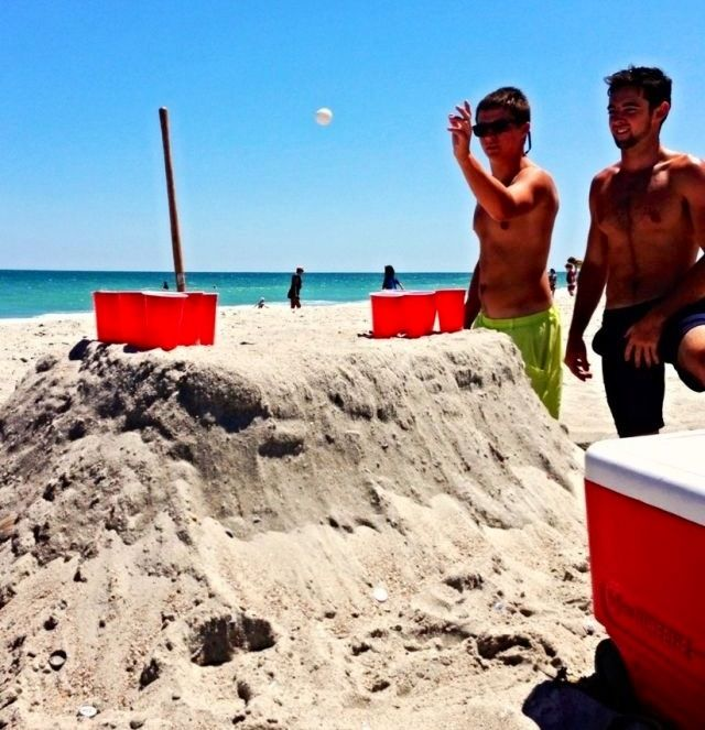 Beach Beer Pong. I was just at the beach we should have played on the sand instead of our room