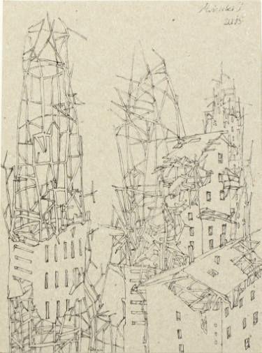 Post-apocalyptic city nr 2, Moscicki Igor, 18x13 cm, cardboard, ink