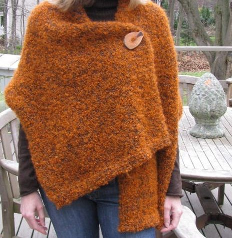 Easy 3 button shawl knitting pattern