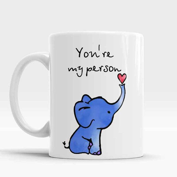 Elephant Mug, Youre my person coffee mug, Romantic gift, Elephant Coffee Mug, Elephant watercolor art cup, Elephant gift  *About the Mugs: - 300 ml = 11 oz mug, Height ~ 9,5cm, Diameter ~ 8,5cm; - White color of the cup - Can be used for Hot and Cold beverages - Reusable Dishwasher safe (top rack), though I recommend washing by hand to maintain the vibrant color as repetitive use of the dishwasher may cause some slight fading. - Ready to ship in 1-3 business days.  >>>>>>Thanks for looking…
