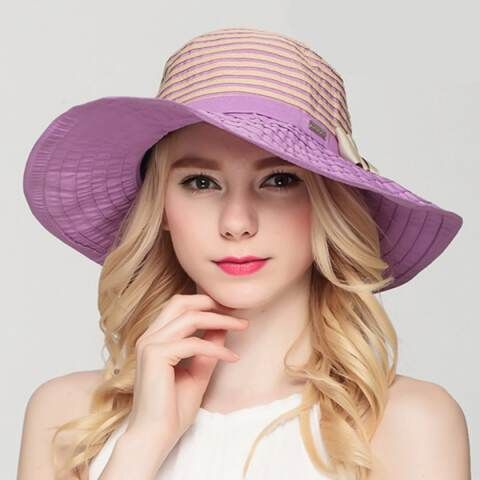 Ladies sun hats with bow for beach package striped sun protection hats