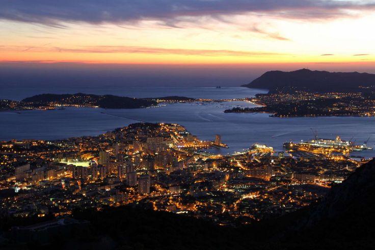 Toulon, France at night