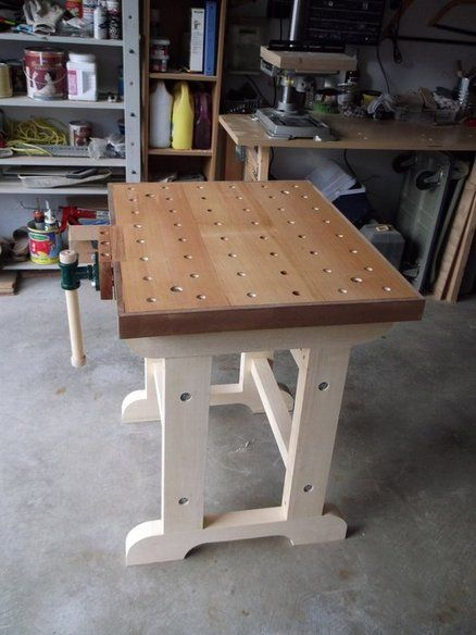 Small workbench simple not over the top for limited garage space.