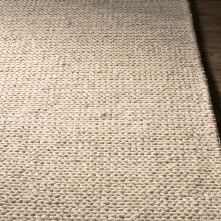Dunfee Chunky Wool Cable Off White Area Rug Rugs White