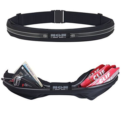 NGN Sport - Running Belt / Waist Pack / Travel Belt / Fitness Belt with Water Resistant Pockets for iPhone, Android, Money and other Accessories - 2 Pocket (Black) - http://www.exercisejoy.com/ngn-sport-running-belt-waist-pack-travel-belt-fitness-belt-with-water-resistant-pockets-for-iphone-android-money-and-other-accessories-2-pocket-black/fitness/