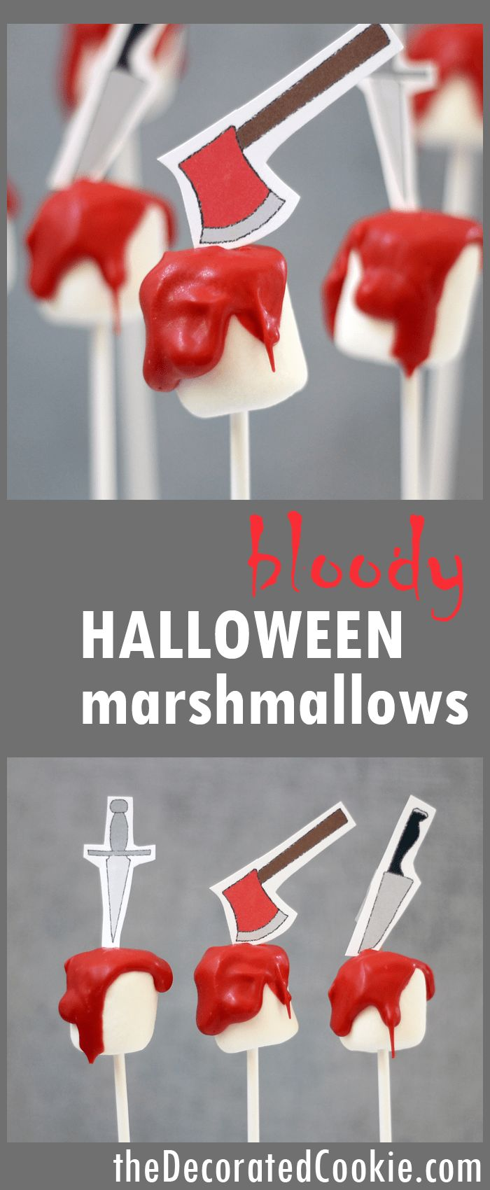 bloody Halloween marshmallows with free printable -- easy, fun Halloween treat