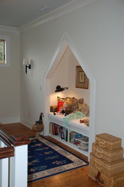 Do you have a double-door closet in your upstairs hallway? Turn it into a reading area. Loft areas and open hallways also work well as small library spaces.