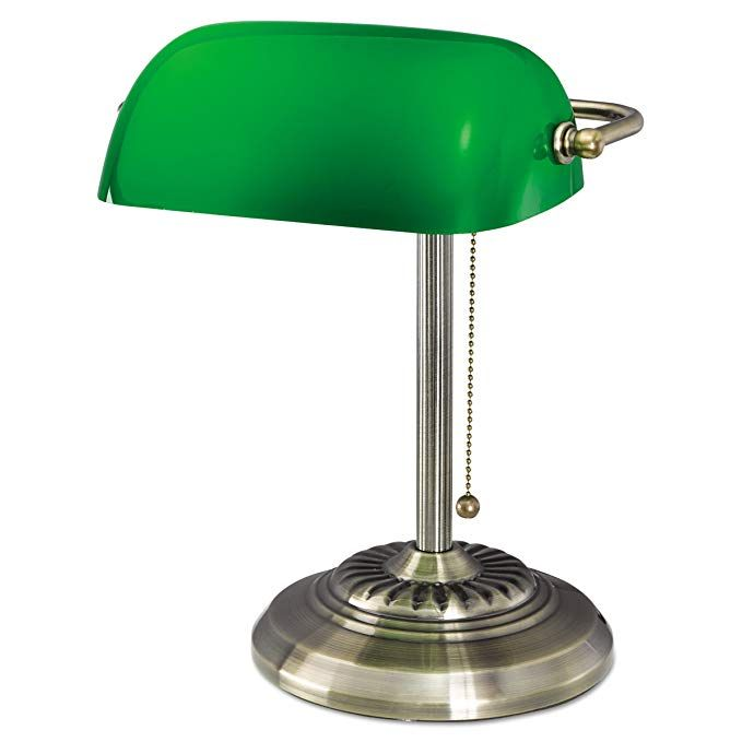 Ledu L557br Traditional Banker S Lamp 14 High Brass Base With Green Shade Bankers Lamp Lamp Desk Lamp